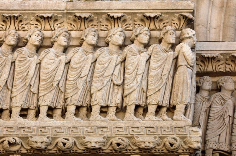 Szczegóły zachodnia wrotna świętego Trophime katedra w Arles, Francja Rhone fotografia stock