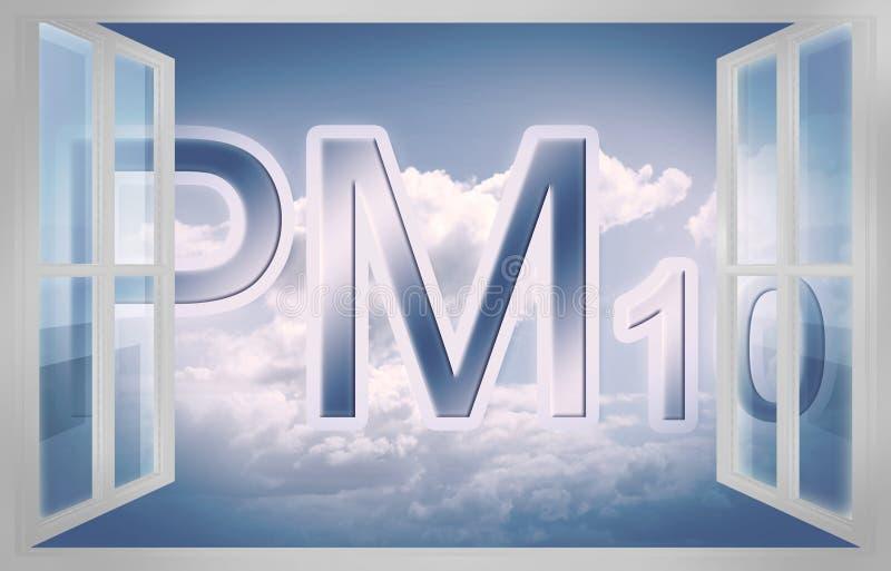 Szczególnej sprawy świetnie pyłu PM10 pojęcia wizerunek w powietrzu - 3D rendering z otwartym okno ilustracji