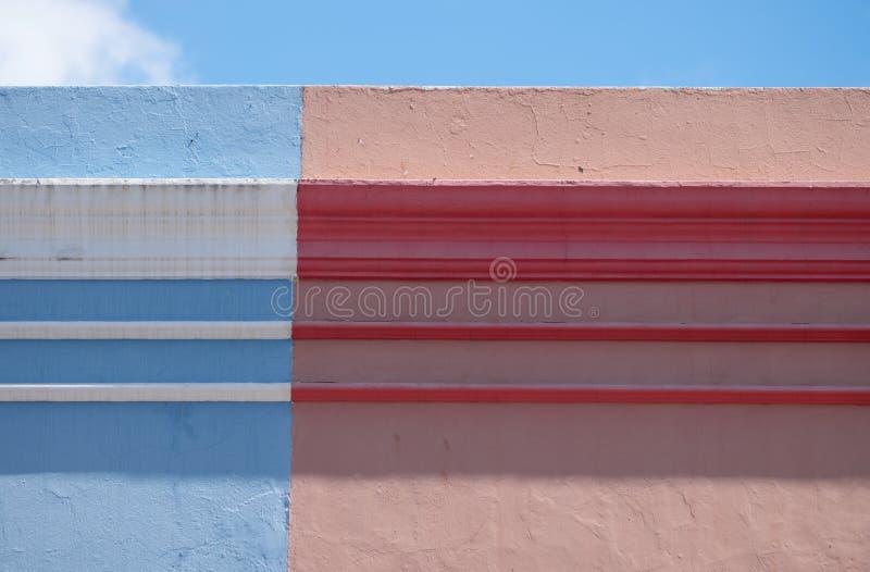 Szczeg??owa fotografia domy w malajczyk ?wiartce, Bo Kaap, Kapsztad, Po?udniowa Afryka Dziejowy teren jaskrawy maluj?cy domy zdjęcie stock