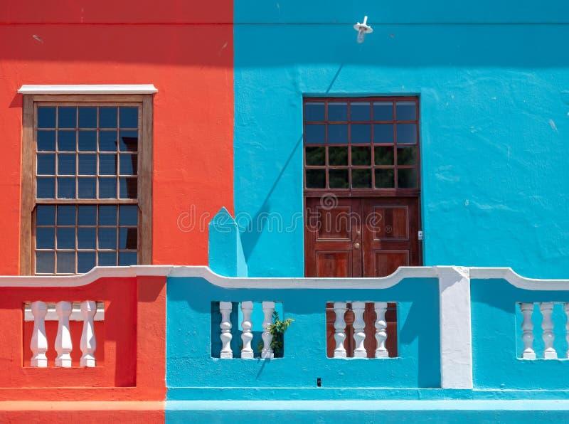 Szczeg??owa fotografia kolorowi domy w malajczyk ?wiartce, Bo Kaap, Kapsztad, Po?udniowa Afryka obrazy royalty free