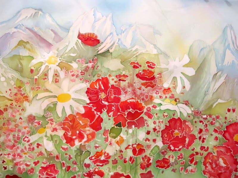 Szczeniaków kwiaty i chamomile abstrakcjonistyczny obraz. royalty ilustracja