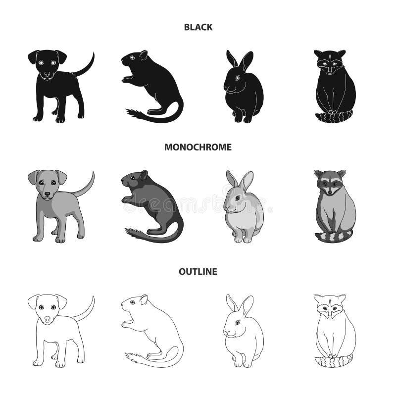 Szczeniak, ślepuszonka, królik i inni zwierzęcy gatunki, Zwierzę ustawiać inkasowe ikony w czarnym, monochromatyczny, konturu sty ilustracji