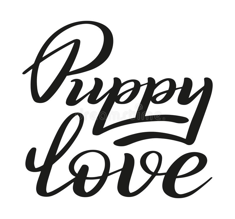 Szczeniak miłość Pierwszy miłość, potomstwo miłość Szczotkarski pióra literowanie wektor royalty ilustracja