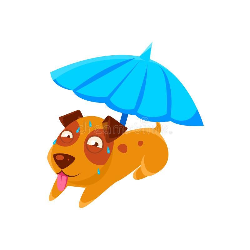 Szczeniaka pocenie Pod parasolem Na plaży royalty ilustracja