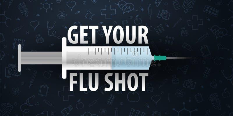 szczepienie Dostaje Twój szczepionka przeciw grypie Medyczny plakat ręk opieki zdrowie odosobneni opóźnienia Wektorowa medycyny i ilustracji