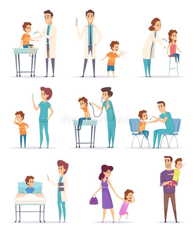 szczepienie Dzieci w szpitalu z lekarką robi wtryskowe dziewczyny i chłopiec wektorowe medyczne ilustracje royalty ilustracja