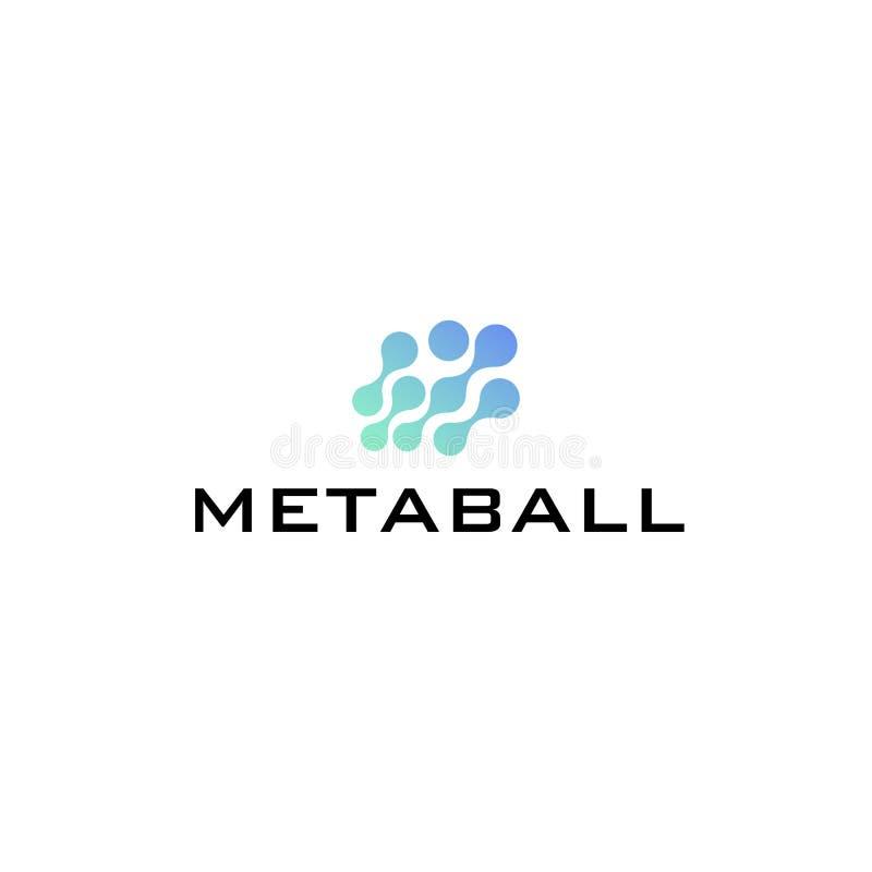 Szczerbi się loga koloru błękitnego metaball, graficznego sieć łańcuchu bazy danych duży pojęcie, 2d wektorowa ilustracja odizolo ilustracja wektor