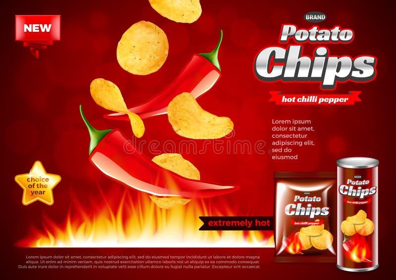 Szczerbi się reklamy Gorącego chili pieprz spada w pożarniczego wektorowego tło ilustracja wektor
