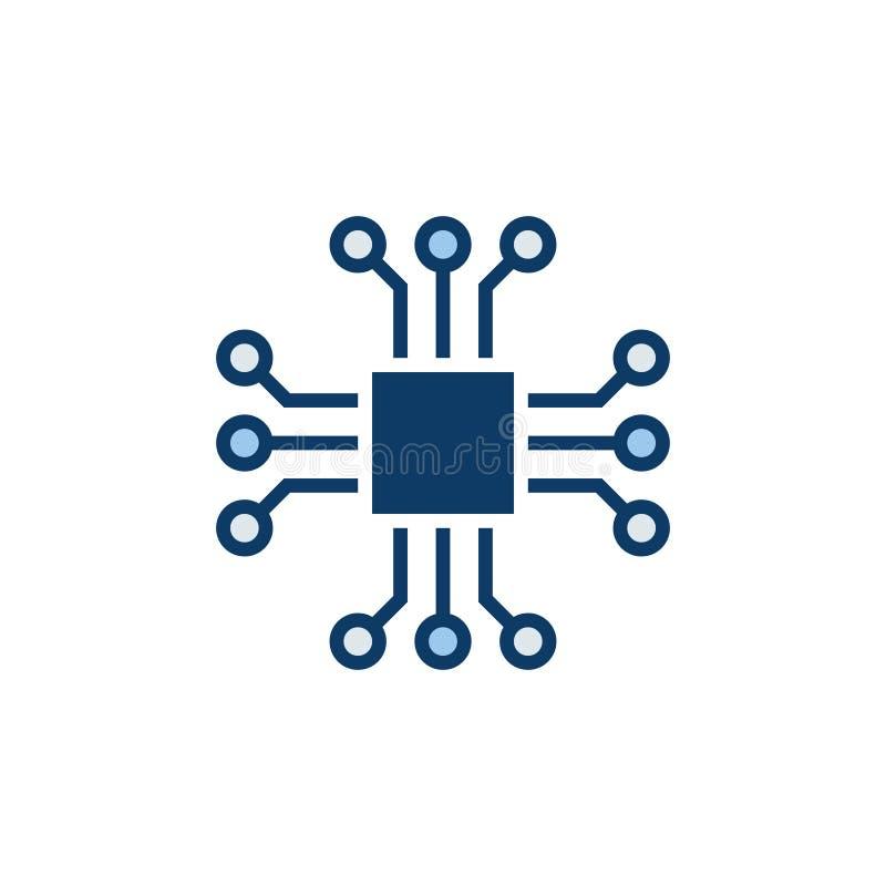 Szczerbi się wektorową ikonę lub projektuje element - chipa komputerowego symbol ilustracji