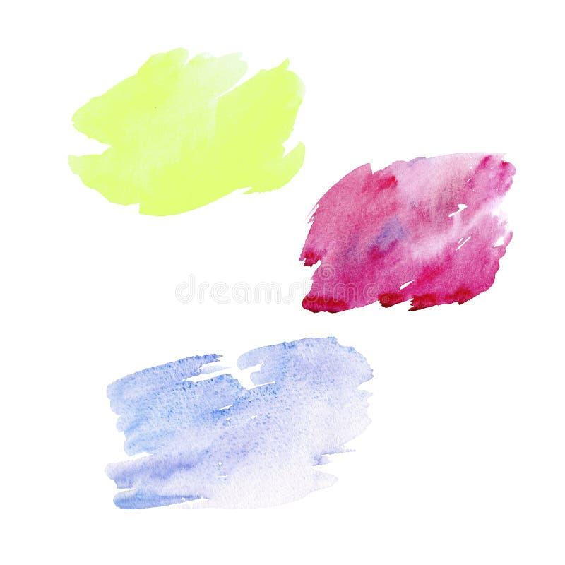Szczotkarscy stroks rysujący na białej księgi tle Kolorowy szczotkarski projekt Karciany lub plakatowy abstrakcjonistyczny szablo ilustracja wektor