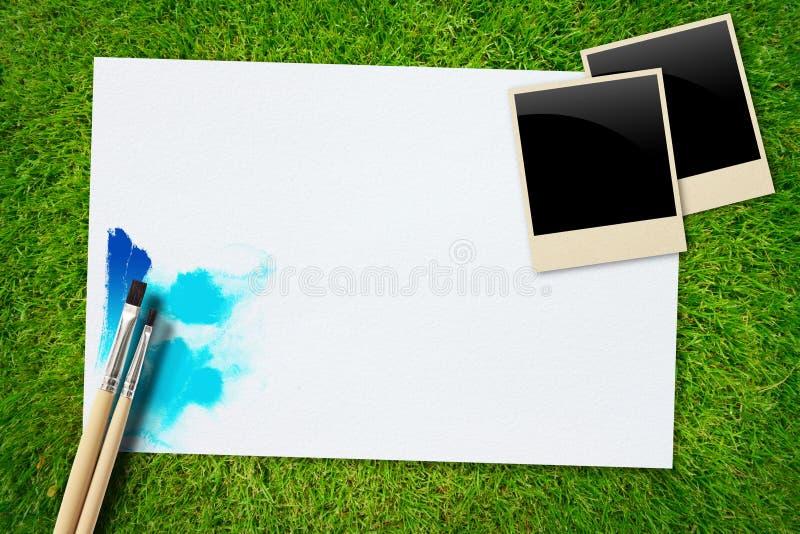 szczotkarska ramowa trawy papieru fotografia obraz royalty free