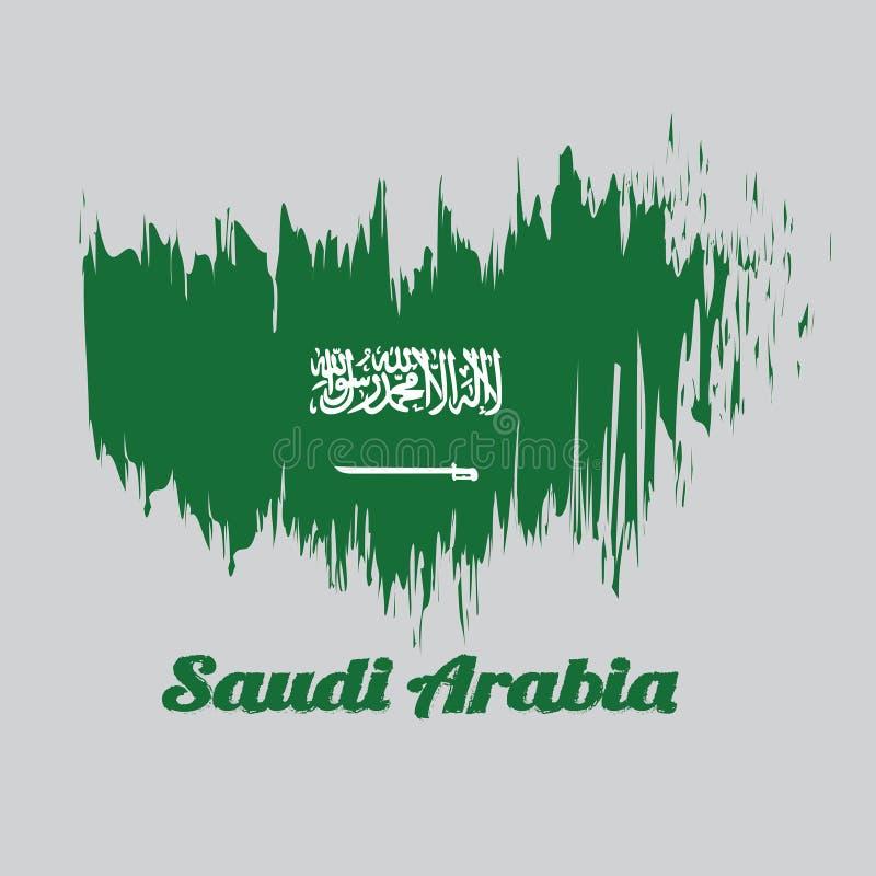 Szczotkarska stylowa kolor flaga Arabia Saudyjska, z tekstem Arabia Saudyjska ilustracja wektor