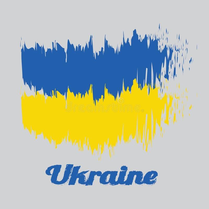 Szczotkarska stylowa kolor flaga Ukraina, ja jest sztandarem dwa równo sklejonego horyzontalnego zespołu błękit i kolor żółty ilustracja wektor