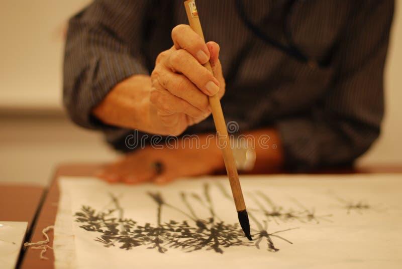 szczotkarski chiński obraz obraz stock