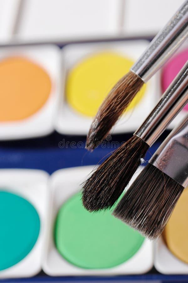 szczotkarski paintbox zdjęcia stock