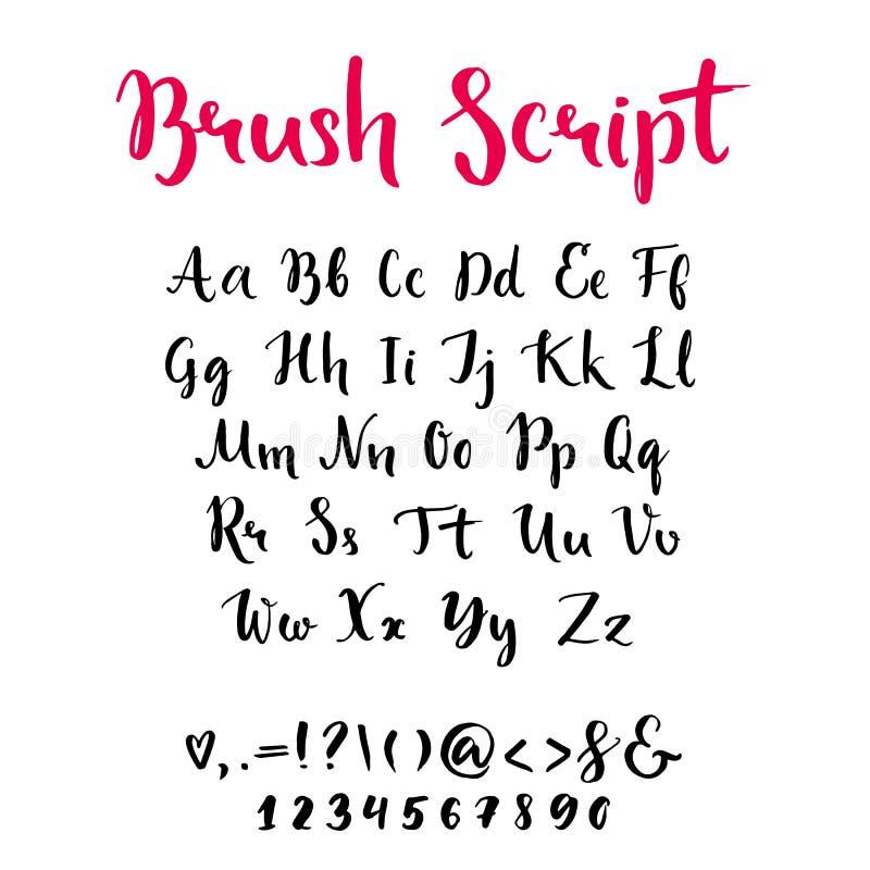 Szczotkarski pismo z lowercase i uppercase listami ilustracji