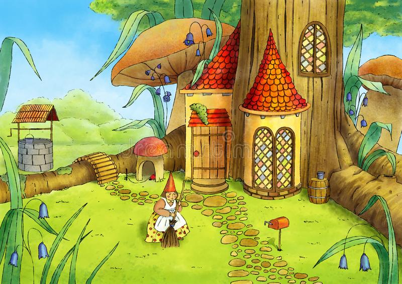 szczotkarski węgiel drzewny rysunek rysujący ręki ilustracyjny ilustrator jak spojrzenie robi pastelowi tradycyjny Gnomu dom ilustracja wektor