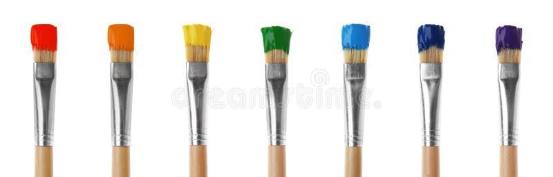 szczotkuje farba kolorowego set obrazy royalty free