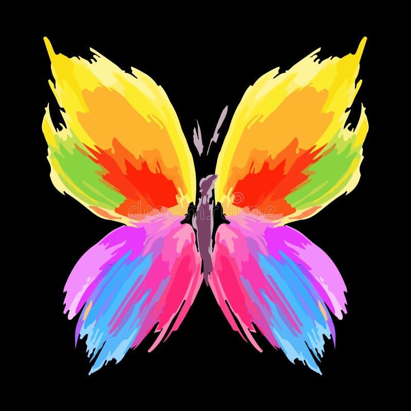 szczotkuje kolor motylią linię pluśnięcia wektor ilustracji