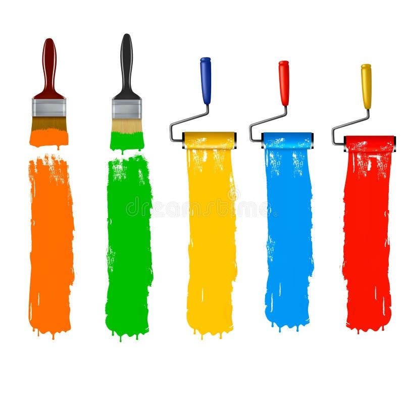 szczotkuje kolorowego farby rolownika set ilustracji