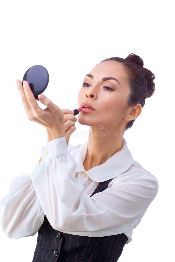 szczotkuje makeup kobiety Wszystko odizolowywający na bielu zdjęcie stock