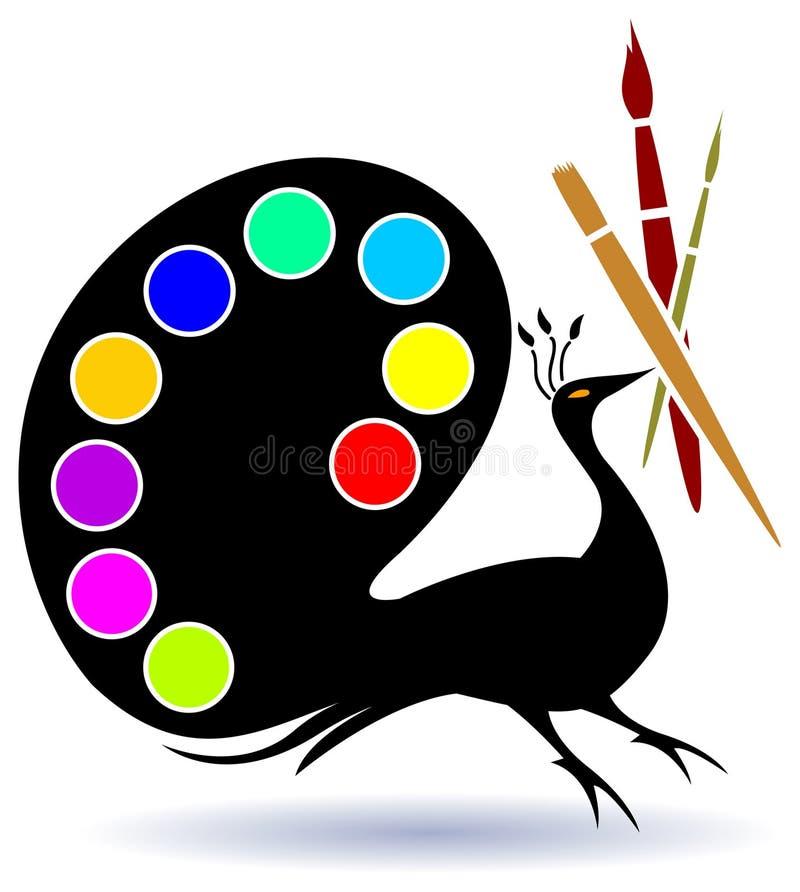 szczotkuje paleta pawia ilustracja wektor