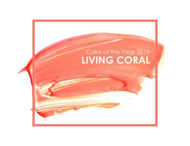 Szczotkuje teksturę na papierowym żywym koralu i maluje Kolor rok 2019 żywy koral - wizerunek royalty ilustracja