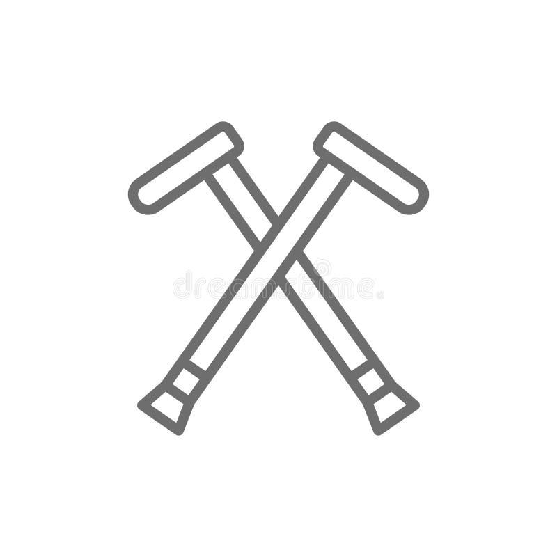 Szczudła, chodzący kije, szczudło kreskowa ikona royalty ilustracja