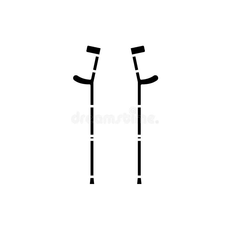 Szczudła czarna ikona, wektoru znak na odosobnionym tle Szczudła pojęcia symbol, ilustracja ilustracji