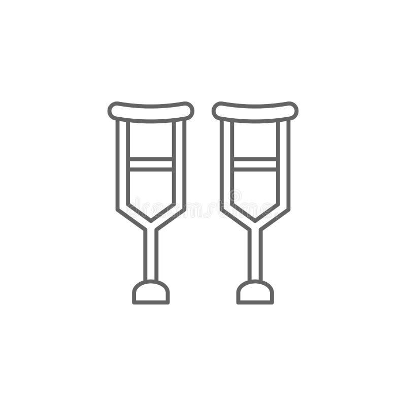 Szczudła, fizjoterapii ikona Element fizjoterapii ikona Cienka kreskowa ikona dla strona internetowa projekta i rozwoju, app rozw royalty ilustracja