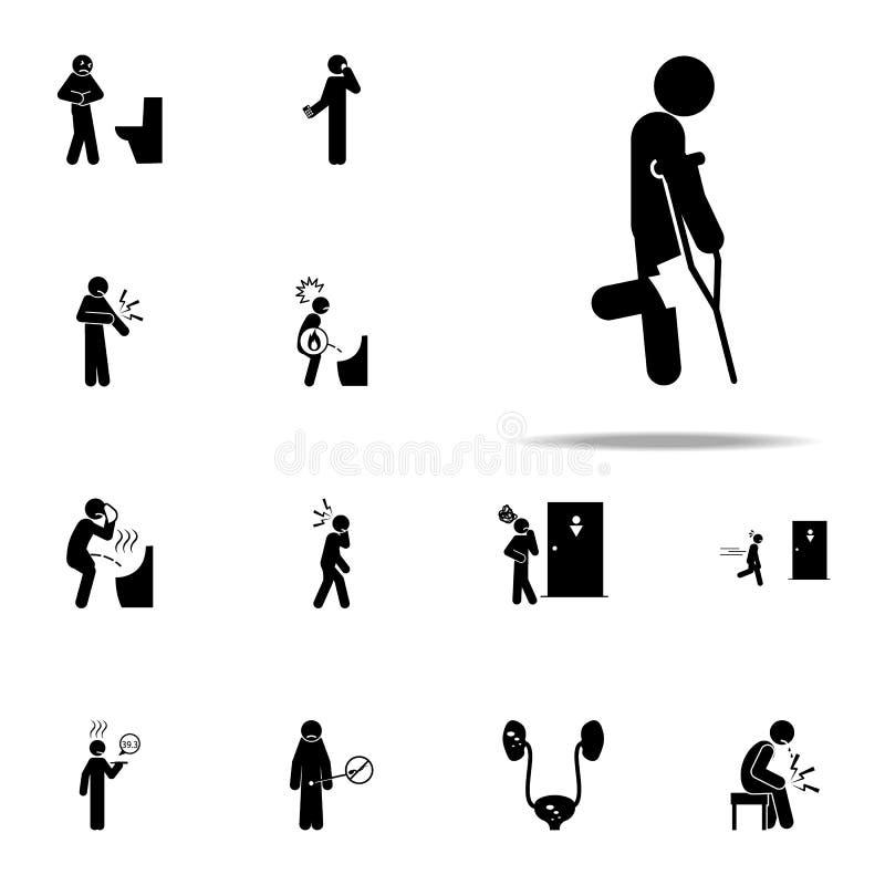 szczudła, kolanowa ikona Bólowi ludzie ikon ogólnoludzkich ustawiającego dla sieci i wiszącej ozdoby ilustracji