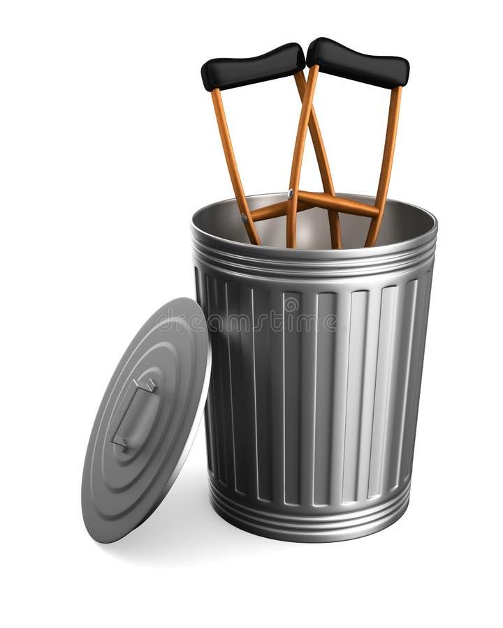Szczudła w śmieciarskim koszu na białym tle Odosobniony 3d illu ilustracja wektor