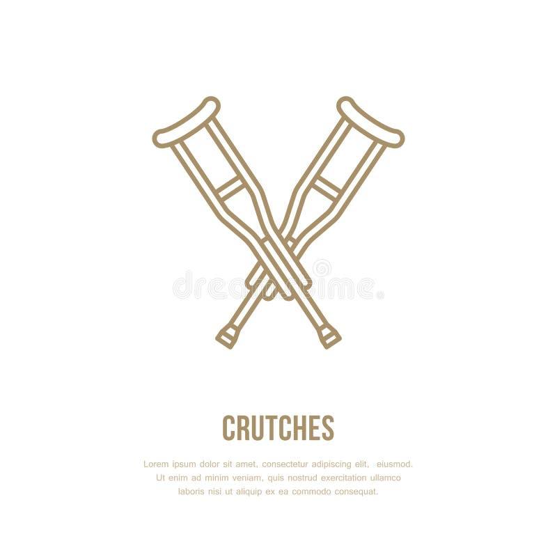 Szczudła wykładają ikonę Wektorowy logo dla rehabilitaci wyposażenia sklepu ilustracja wektor
