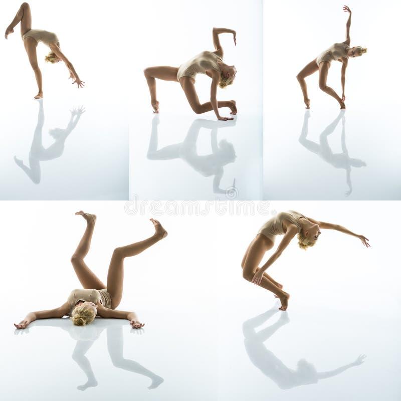 Szczupła gimnastyczka w różnorodnych pozach fotografia royalty free