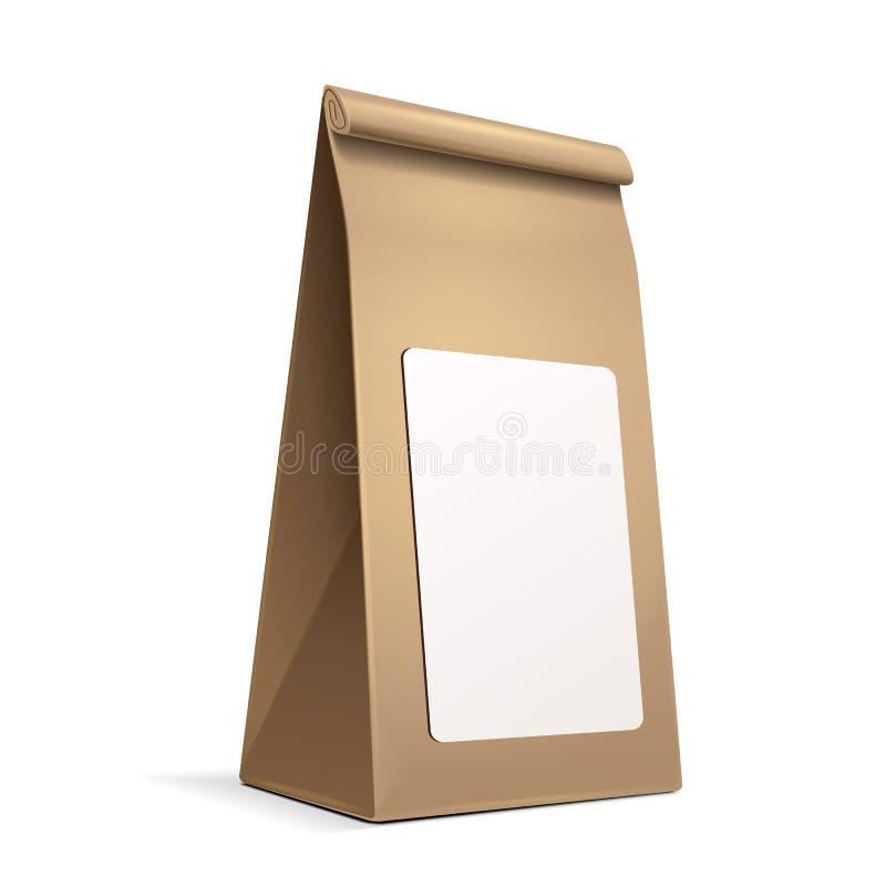 Szczupły Papierowej torby pakunek Z Białym etykietka majcherem kawa, sól, cukier, pieprz, pikantność Lub mąka Wypełniający, ilustracja wektor