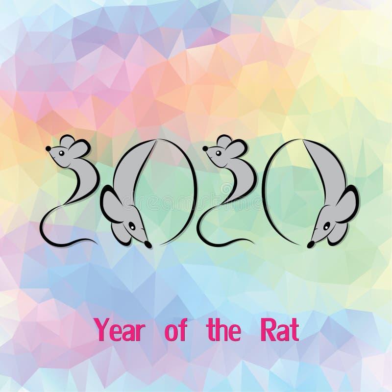 Szczur, mysz horoskopu zwierzęcia chiński znak The sztuki wektorowy wizerunek w dekoracyjnym stylu royalty ilustracja