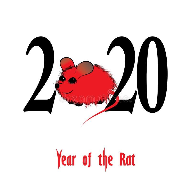 Szczur, mysz horoskopu zwierzęcia chiński znak The sztuki wektorowy wizerunek w dekoracyjnym stylu ilustracji
