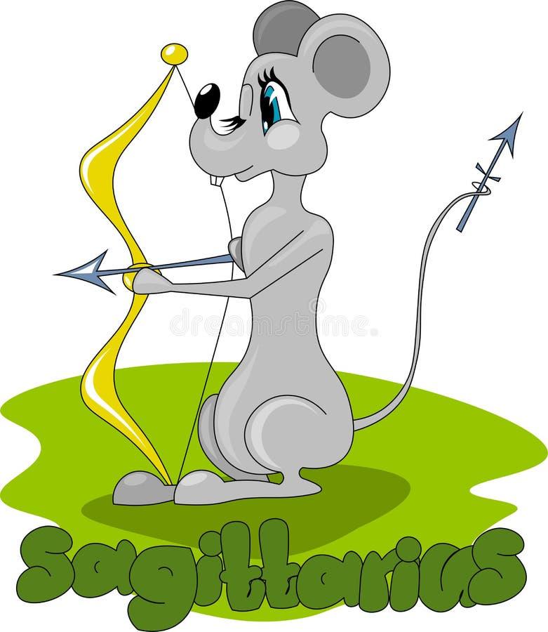 Szczur z łękiem i strzałami royalty ilustracja