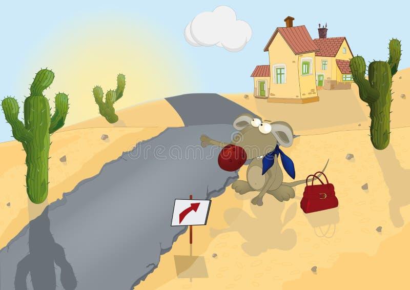Szczura i drogi dom ilustracja wektor