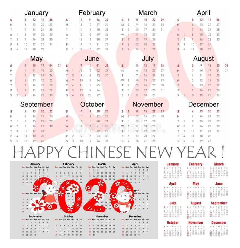 Szczura roku wektoru 2020 kalendarz z r?ki rysuj?cymi illustartions szczury dla ka?dy miesi?c i r?ka pisa? znaki w roku szczura t royalty ilustracja