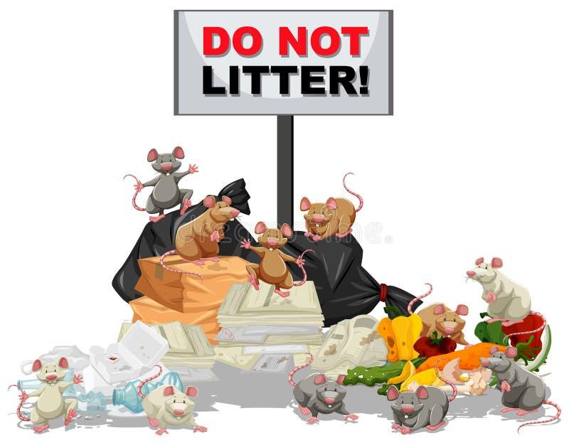 Szczury szuka dla jedzenia przy ściółka stosem royalty ilustracja