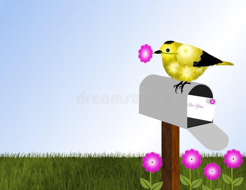 Szczygieł i Otwarta skrzynka pocztowa ilustracji