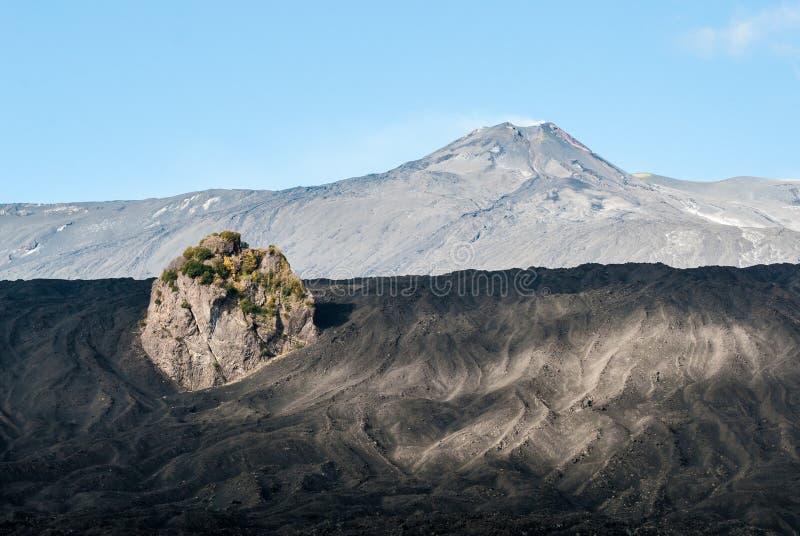 Szczytów kratery widzieć od wschodniej flanki wulkan Etna zdjęcia stock