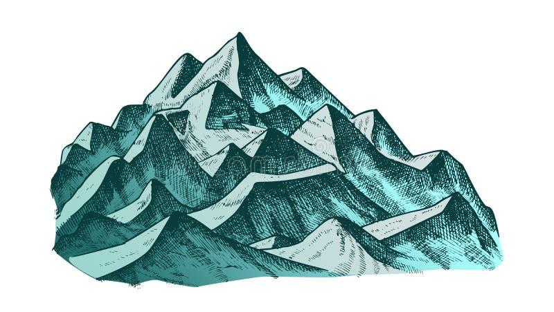 Szczyt góra krajobrazu atramentu koloru wektor ilustracji