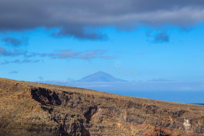 Szczyt widzieć od losu angeles Gomera Teide zdjęcia stock