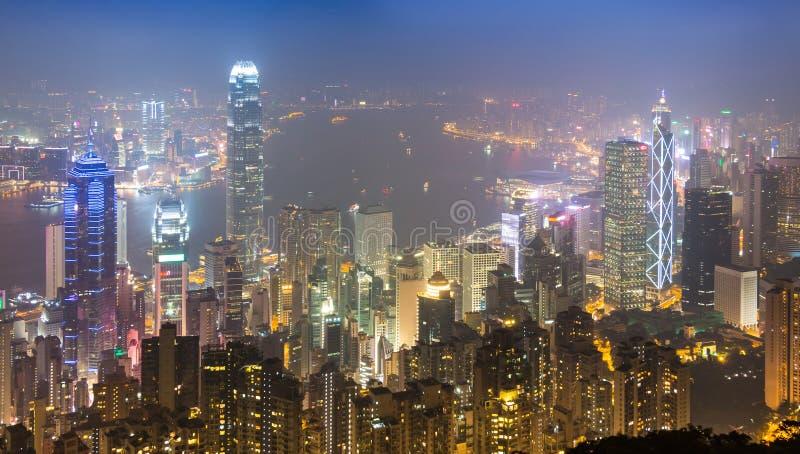 Szczytowy Hong Kong miasto W mgle fotografia royalty free