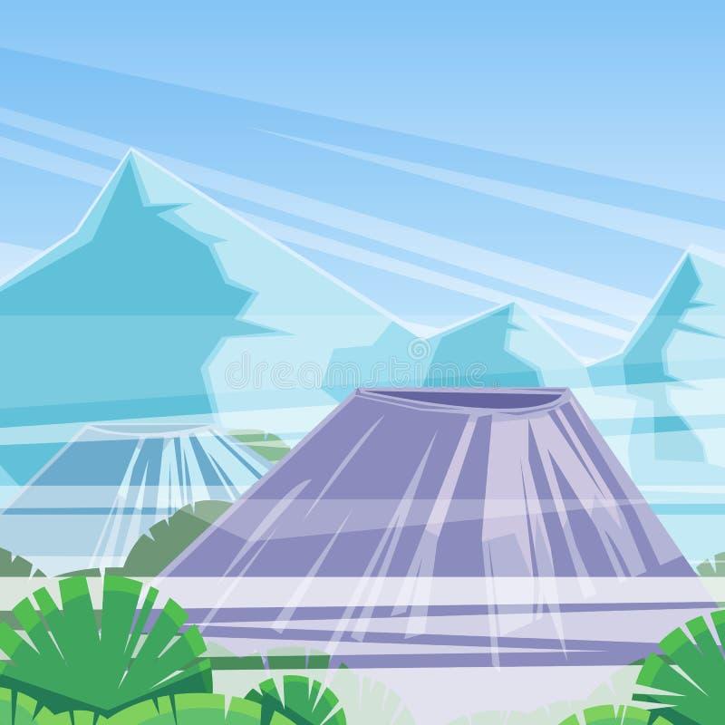 Szczyty góry i wulkan w chmurach, wektorowa ilustracja Natury krajobrazowy tło ilustracja wektor