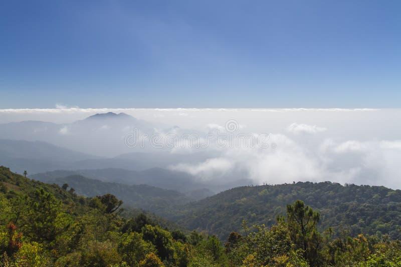 Szczyty okrywali w morzu mgła przy Tajlandia zdjęcia stock