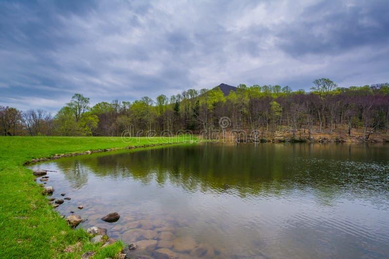 Szczyty Wydrowy jezioro na Błękitnym grani Parkway w Virginia, zdjęcia stock