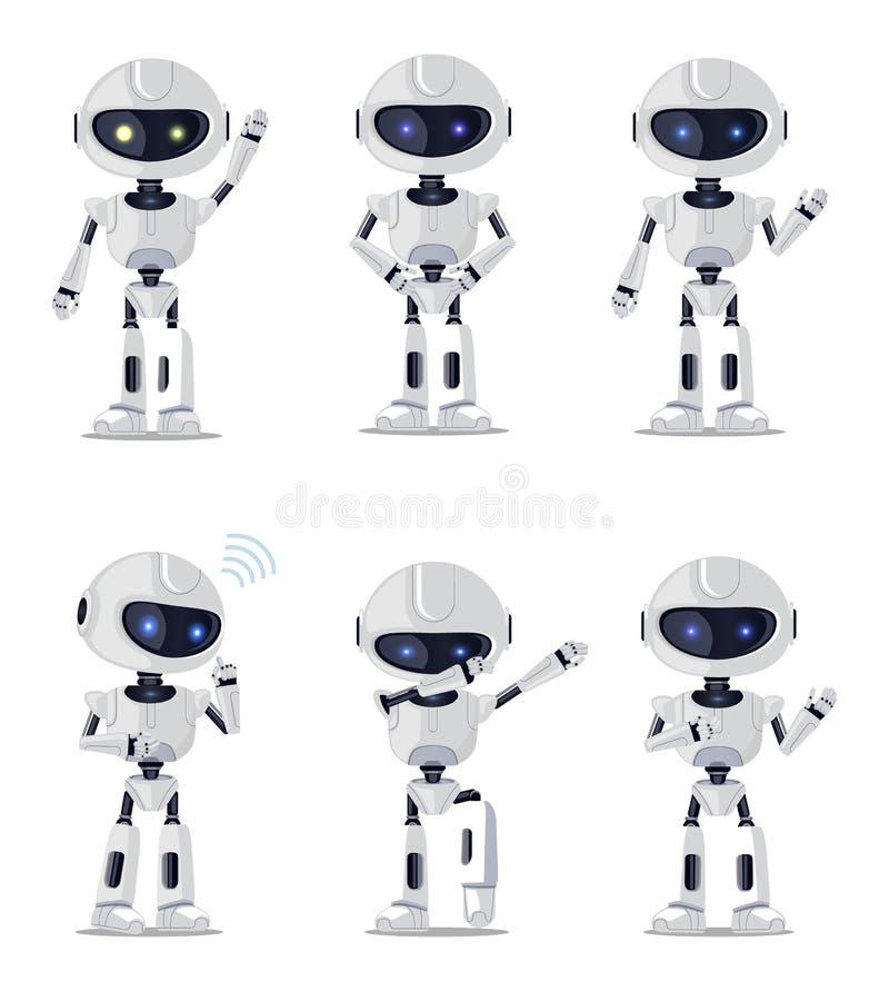 Sześć Ładnych Ai maszyn Odizolowywających na Białym tle ilustracja wektor